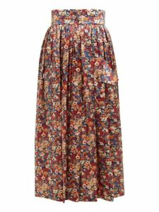 The Vampire's Wife - Visiting Floral Print Silk Charmeuse Midi Skirt - Womens - Orange Multi