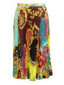 Versace - Montage Print Knife Pleated Skirt - Womens - Yellow Multi