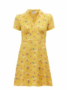 Hvn - Morgan Seagull Print Silk Mini Dress - Womens - Yellow