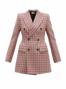 Balenciaga - Hourglass Double Breasted Wool Blazer - Womens - Pink Multi