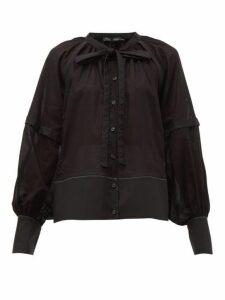 Proenza Schouler - Tie Neck Cotton Voile Blouse - Womens - Black