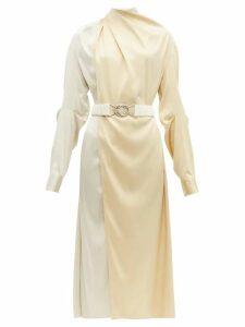 Bottega Veneta - Draped Two Tone Belted Silk Satin Dress - Womens - Cream Multi