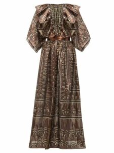 Zandra Rhodes - Ruffled Geometric Print Silk Blend Gown - Womens - Black Gold