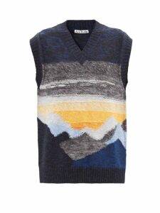 Batsheva - Sash Denim Panelled Gingham Cotton Dress - Womens - Red Multi