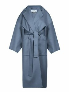 Loewe - Piacenza Oversized Wool Blend Coat - Womens - Blue