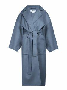 Loewe - Piacenza Oversized Wool-blend Coat - Womens - Blue