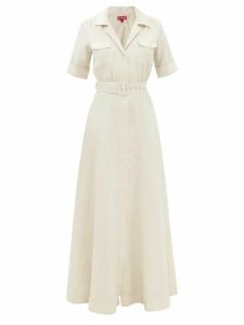 Msgm - Pleated Wool Blend Houndstooth Mini Skirt - Womens - Brown