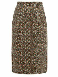 Batsheva - Strawberry Print Cotton Midi Skirt - Womens - Multi