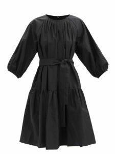 Erdem - Kinsey Floral Print Crepe Midi Dress - Womens - Black Print