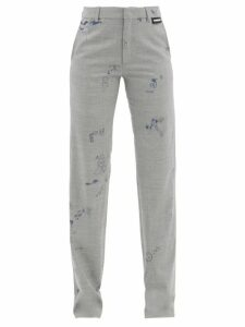 Msgm - Ruffled Floral Jacquard Mini Dress - Womens - Black Multi