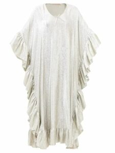 Msgm - Top Stitched Denim Midi Skirt - Womens - Dark Denim