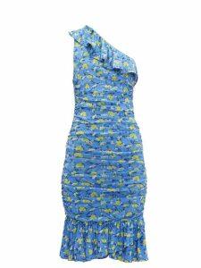 Diane Von Furstenberg - Aerin Ruched Floral Print Mesh Dress - Womens - Blue Multi