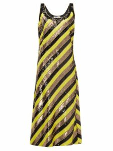 Diane Von Furstenberg - Luisa Scoop Neck Sequin Striped Silk Midi Dress - Womens - Yellow Multi