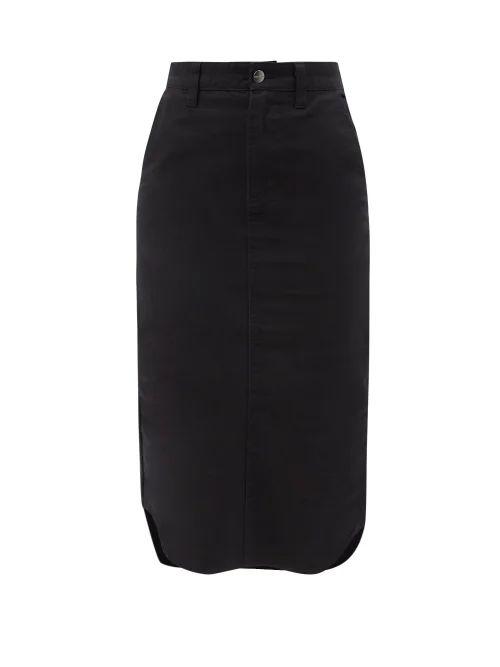 Alexander Mcqueen - Fluted Hem Cable Knit Wool Blend Pencil Skirt - Womens - Ivory
