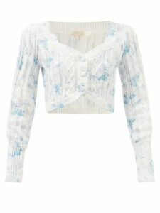 No. 21 - Floral Print Satin Pencil Skirt - Womens - Black Red