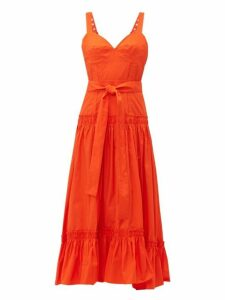 Proenza Schouler - Buckle Strap Cotton Poplin Dress - Womens - Orange
