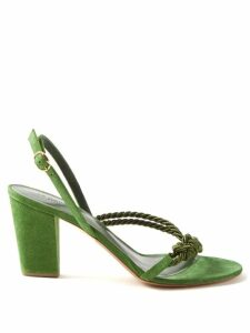 Saloni - Vanessa Berry Print Silk Midi Dress - Womens - Pink Multi