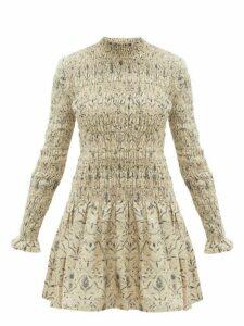 Sir - Sachi Floral-print Smocked Linen Dress - Womens - Cream Multi