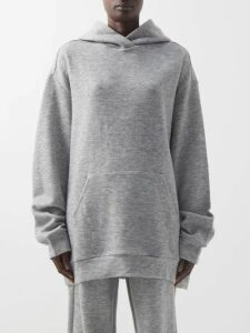 Raey - Oversized Cashmere Blend Hooded Sweatshirt - Womens - Grey