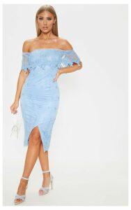 Dusty Blue Lace Bardot Bodycon Midi Dress, Blue