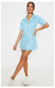 Baby Blue Broderie Analgise Tortoise Shell Button Shirt Dress, Blue