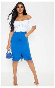 Petite Bright Blue  Distressed Hem Midi Skirt, Bright Blue