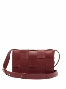 Bottega Veneta - Cassette Intrecciato Leather Cross Body Bag - Womens - Burgundy
