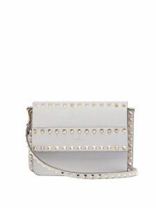 Valentino - Rockstud Leather Cross Body Bag - Womens - Light Grey