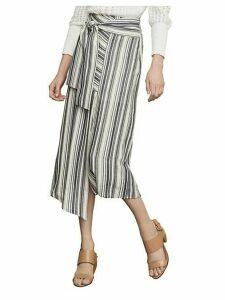 Striped Asymmetrical Cotton Blend Midi Skirt