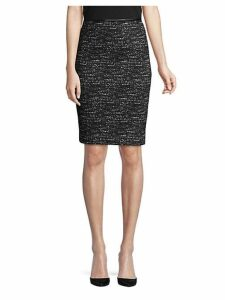 Faux Leather-Trimmed Pencil Skirt