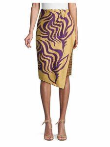 Scarf Overlay Pencil Skirt