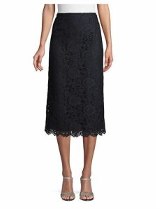 Floral Lace Cotton Blend A-Line Skirt