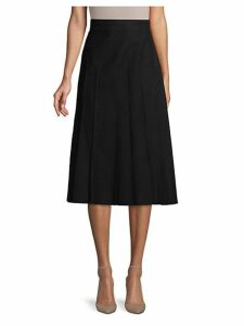 Pleated Wool A-Line Skirt