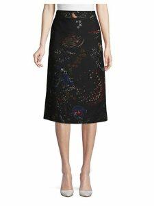 Celestial Wool & Silk Blend A-Line Skirt