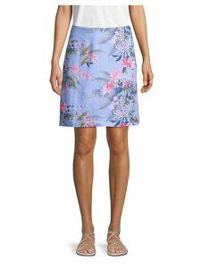 Botanical-Print Linen Skirt