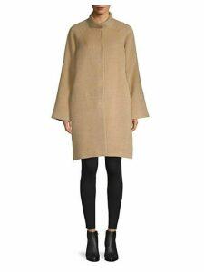 Funnel Neck Alpaca Wool Coat