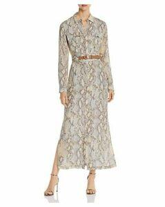 Lafayette 148 New York Snake-Print Maxi Shirt Dress