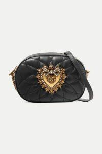 Dolce & Gabbana - Devotion Embellished Quilted Leather Shoulder Bag - Black