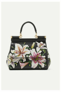 Dolce & Gabbana - Sicily Floral-print Textured-leather Tote - Black