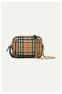 Burberry - Leather-trimmed Checked Cotton-canvas Shoulder Bag - Brown