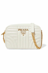 Prada - Diagramme Small Quilted Leather Shoulder Bag - White