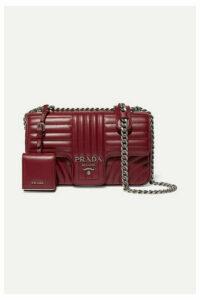 Prada - Diagramme Medium Quilted Leather Shoulder Bag - Burgundy