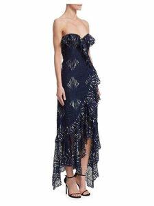 Sheer Metallic Asymmetrical Bustier Gown