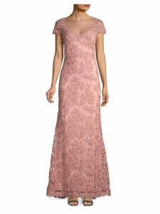 Illusion Cap Sleeve Lace Gown