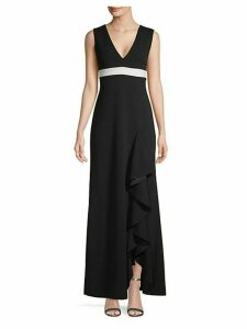 Ruffled Slit Long A-Line Dress