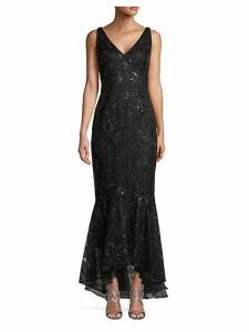 Floral Embroidered Sequin High-Low Trumpet Gown