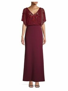 Beaded Overlay Gown