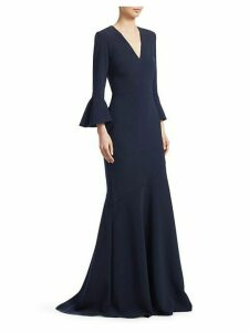 Bell Sleeve V-Neck Gown
