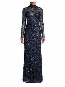Leandra Sequin Mockneck Gown