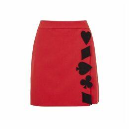 Boutique Moschino Red Appliquéd Mini Skirt